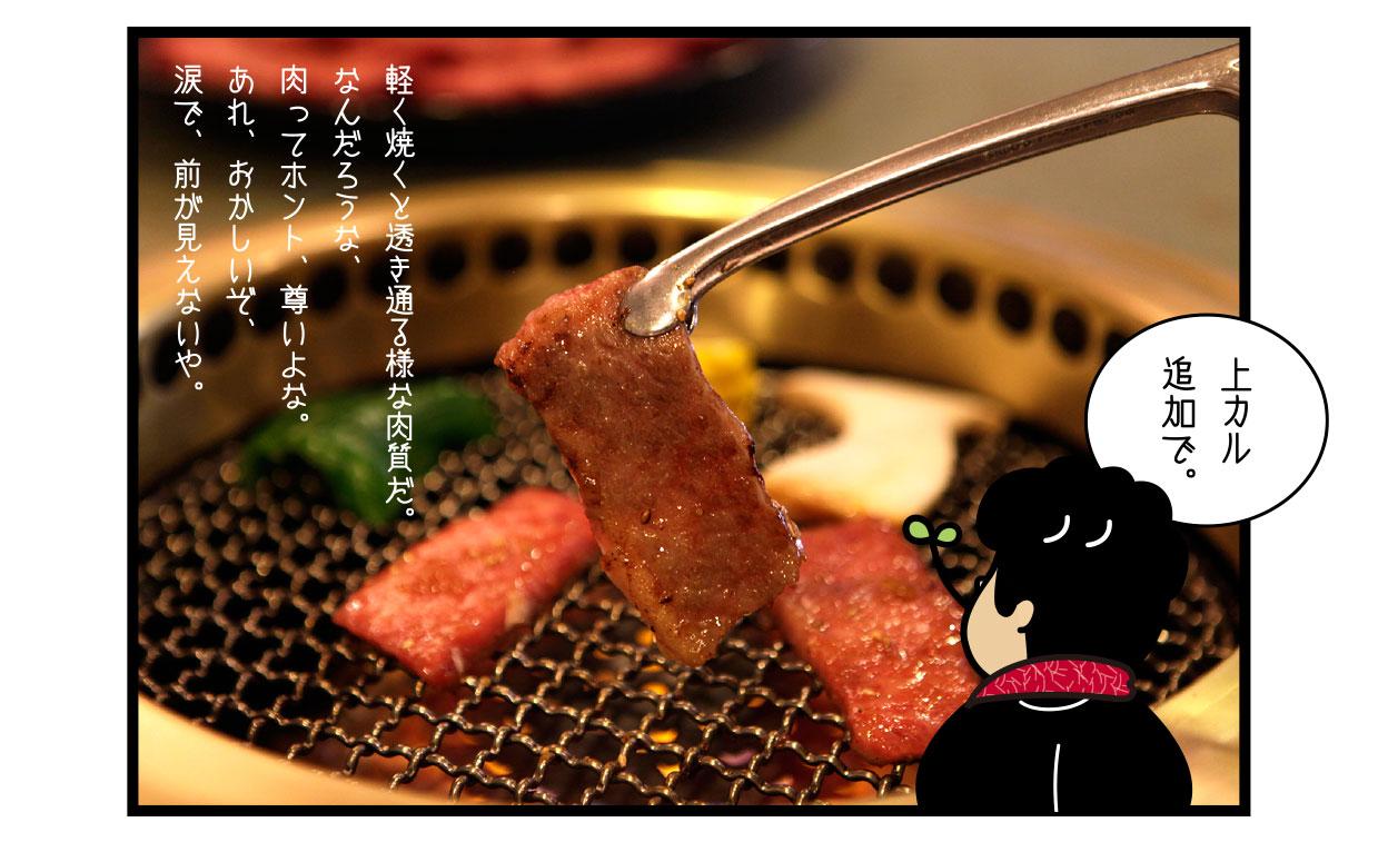 軽く焼くと透き通る様な肉質だ。 なんだろうな、肉ってホント、尊いよな。 あれ、おかしいぞ、涙で、前が見えないや。