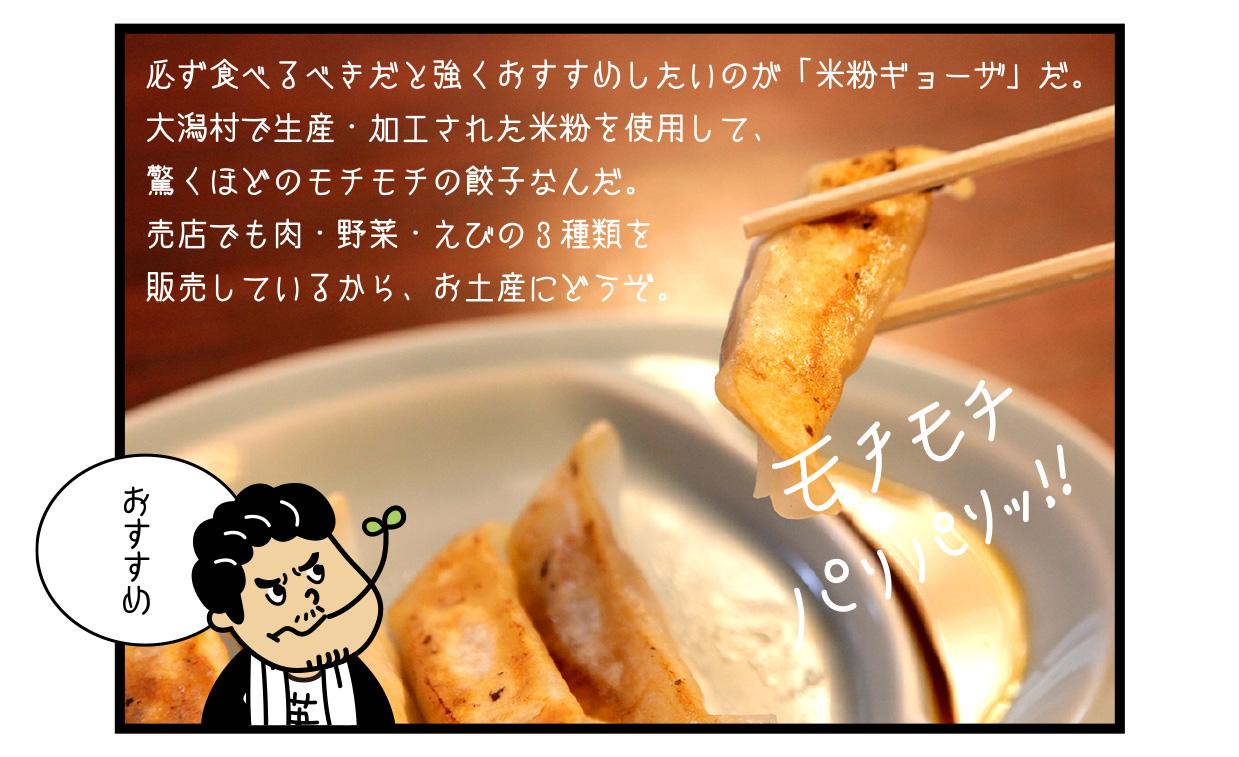 必ず食べるべきだと強くおすすめしたいのが「米粉ギョーザ」だ。 大潟村で生産・加工された米粉を使用して、驚くほどのモチモチの餃子なんだ。 売店でも肉・野菜・えびの3種類を販売しているから、お土産にどうぞ。